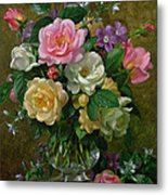 Roses In A Glass Vase Metal Print by Albert Williams