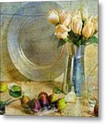 Roses With Figs Metal Print by Diana Angstadt