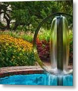Round Water Sculpture Prescott Park Garden  Metal Print by Jeff Sinon