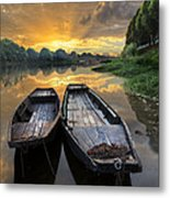Rowboats On The River Metal Print by Debra and Dave Vanderlaan