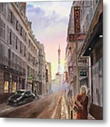 Rue Saint Dominique Sunset Through Eiffel Tower   Metal Print by Irina Sztukowski