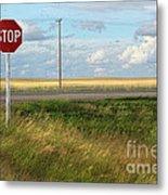 Rural Stop Sign On The Prairies  Metal Print by Sandra Cunningham