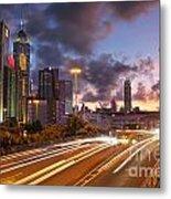 Rush Hour During Sunset In Hong Kong Metal Print by Lars Ruecker