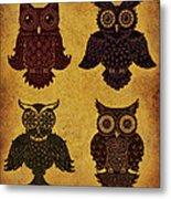 Rustic Aged 4 Owls Metal Print by Kyle Wood