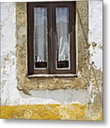 Rustic Window Of Medieval Obidos Metal Print by David Letts