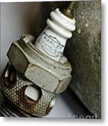 Rusty Old Spark Plug  5  Metal Print by Wilma  Birdwell