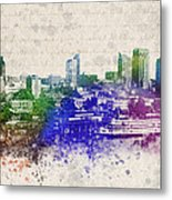 Sacramento City Skyline Metal Print by Aged Pixel