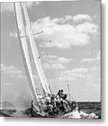 Sailboat Charging The Waves Metal Print by Retro Images Archive
