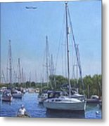 Sailing Boats At Christchurch Harbour Metal Print by Martin Davey