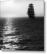 Sailing Out Of The Fog - Black And White Metal Print by Jason Politte