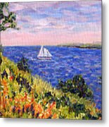 Sailing Through Belfast Maine Metal Print by Pamela Parsons