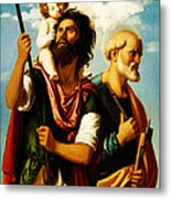 Saint Christopher With Saint Peter Metal Print by Digital Reproductions