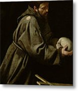 Saint Francis In Meditation Metal Print by Michelangelo Merisi da Caravaggio