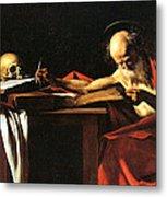 Saint Jerome Writing Metal Print by Caravaggio
