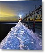 Saint Joseph Pier And Light Metal Print by Twenty Two North Photography