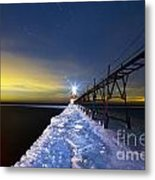 Saint Joseph Pier At Night Metal Print by Twenty Two North Photography