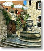 Saint Paul De Vence Fountain Metal Print by Michael Swanson