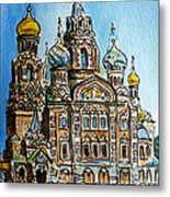 Saint Petersburg Russia The Church Of Our Savior On The Spilled Blood Metal Print by Irina Sztukowski