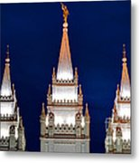 Salt Lake Lds Mormon Temple At Night Metal Print by Gary Whitton