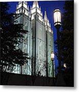 Salt Lake Mormon Temple At Night Metal Print by Gary Whitton