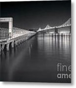 San Francisco Bay Bridge And Pier 14 Metal Print by Colin and Linda McKie