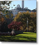 San Francisco Coit Tower At Levis Plaza 5d26217 Metal Print by Wingsdomain Art and Photography