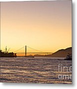 San Francisco Harbor Golden Gate Bridge At Sunset Metal Print by Artist and Photographer Laura Wrede