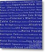 San Francisco In Words Blue Metal Print by Sabine Jacobs