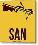 San San Diego Airport Poster 1 Metal Print by Naxart Studio