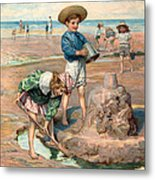 Sand Castles At The Beach Metal Print by Unknown