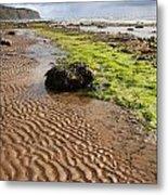 Sand Patterns On Robin Hoods Bay Beach Metal Print by Deborah Benbrook