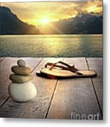 Sandals And Rocks Metal Print by Sandra Cunningham