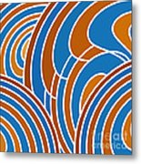 Sanguine And Blue Abstract Metal Print by Frank Tschakert