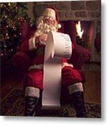 Santa Checking His List Metal Print by Diane Diederich