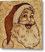 Santa Claus Joyful Face Metal Print by Georgeta  Blanaru