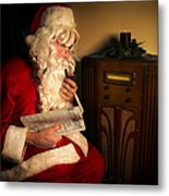 Santa Listening To The Weather Report Metal Print by Diane Diederich