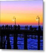 Santa Monica Pier Sunset Silhouettes Metal Print by Lynn Bauer