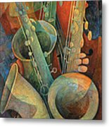 Saxophones And Bass Metal Print by Susanne Clark