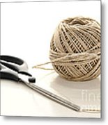 Scissors And Twine Metal Print by Olivier Le Queinec