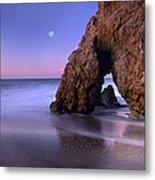 Sea Arch And Full Moon Over El Matador Metal Print by Tim Fitzharris