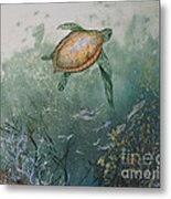 Sea Turtle Metal Print by Nancy Gorr