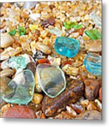 Seaglass Coastal Beach Rock Garden Agates Metal Print by Baslee Troutman