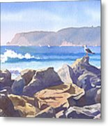 Seagull And Point Loma Metal Print by Mary Helmreich