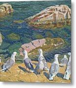 Seagulls Metal Print by Arkadij Aleksandrovic Rylov