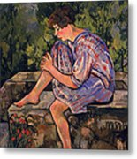 Seated Young Woman Metal Print by Marie Clementine Valadon