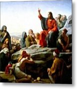 Sermon On The Mount Watercolor Metal Print by Carl Bloch