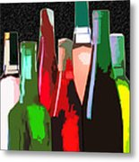 Seven Bottles Of Wine On The Wall Metal Print by Elaine Plesser