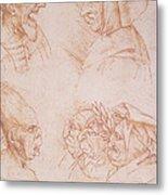 Seven Studies Of Grotesque Faces Metal Print by Leonardo da Vinci