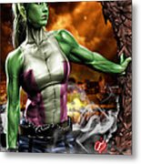 She-hulk Metal Print by Pete Tapang