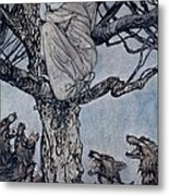 She Looked With Angry Woe At The Straining And Snarling Horde Below Illustration From Irish Fairy  Metal Print by Arthur Rackham